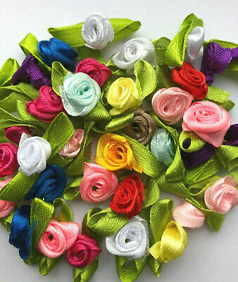 15 Mini Satin Ribbon Roses, Choose Colour Or Mix Lingerie Crafts Sewing Wedding • 2.20£