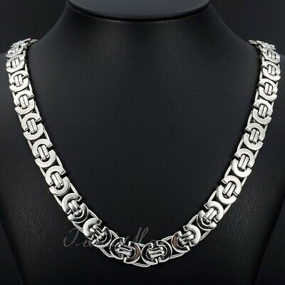 $18.99 • Buy 11mm Men's Silver Flat Byzantine Chain Necklace 316L Stainless Steel 18 -36