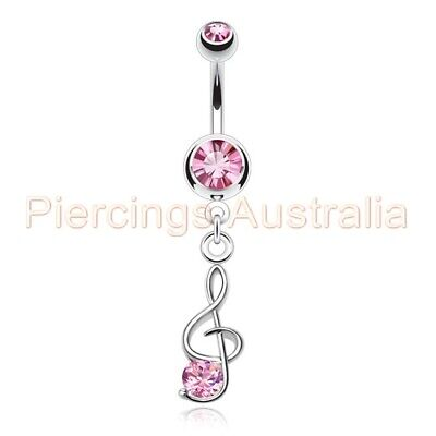 Music Note Treble Clef Belly Dangle Navel Bar Ring Body Piercing Jewellery • 3.87£
