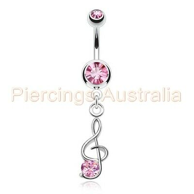 Music Note Treble Clef Belly Dangle Navel Bar Ring Body Piercing Jewellery • 3.72£