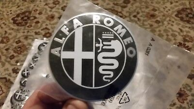 1 PC  Alfa BLACK Emblem Badge 147 156 159 Brera Mito Giulietta  74mm • 1.99£