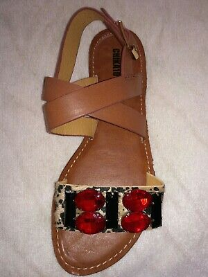 Brand New Brown Stone Decorated Flat Sandals Size 4  • 15£