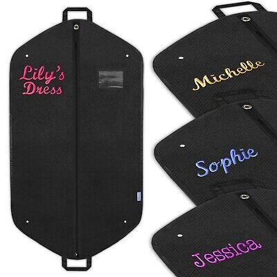 Personalised Embroidered Dress Bag Garment Suit Clothes Cover Travel Carrier • 14.99£