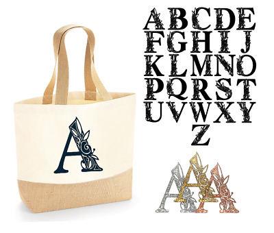 £9.75 • Buy PERSONALISED INITIAL Tote Jute Bag  Natural 100% Cotton Canvas Unisex  Gift
