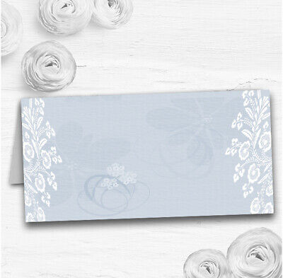 Vintage Lace Pale Blue Chic Wedding Table Seating Name Place Cards • 3.95£
