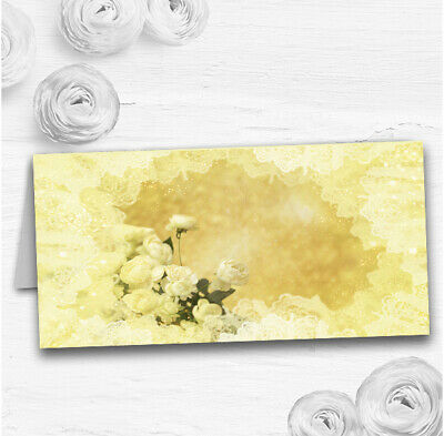 Yellow Cream Lace Wedding Table Seating Name Place Cards • 12.95£