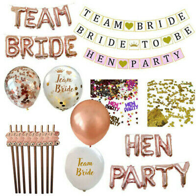 Hen Party Table Decorations Straws Balloons Confetti Bride To Be Banner Garland • 4.99£