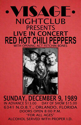 $13.99 • Buy Red Hot Chili Peppers Replica 1989 Concert Poster