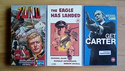Michael Caine Videos Zulu, Get Carter, The Eagle Has Landed Vhs X3 • 3.99£