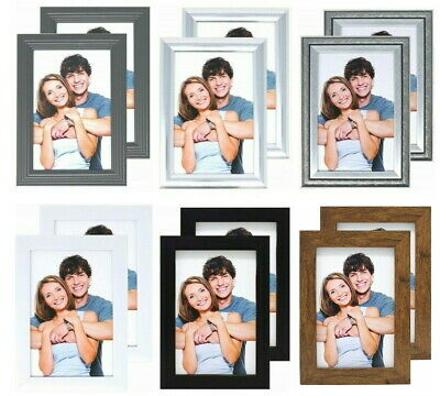 £4.99 • Buy Pack Of 2 Photo Frames 6x4 White, Grey, Silver, Brown, Black, 6x4 Picture Frame