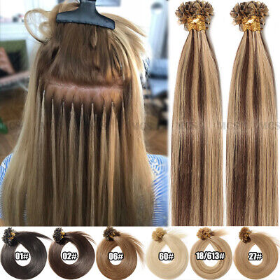 Thick-Glue Keratin Pre Bonded 1G/S Nail U Tip Remy Human Hair Extensions Indian • 20.99$