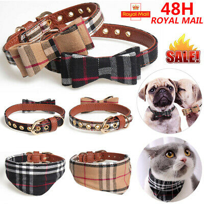 Adjustable Necklace Bow Tie Dog Cat Leather Collars Puppy Kitten Pet Accessories • 4.59£