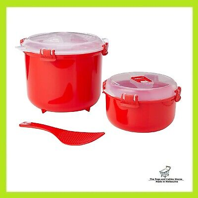 AU13.65 • Buy Sistema Microwave Rice Cooker Steamer With Paddle Red