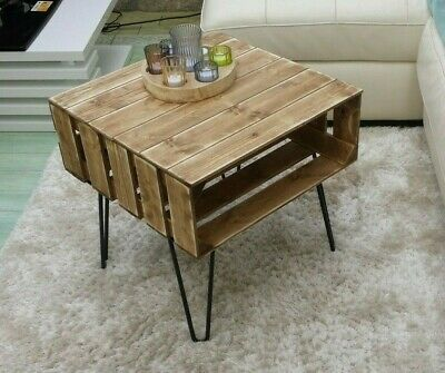 Coffee Table Rustic Chunky With Solid Wood Metal Hairpin Legs-apple Crates • 78.99£