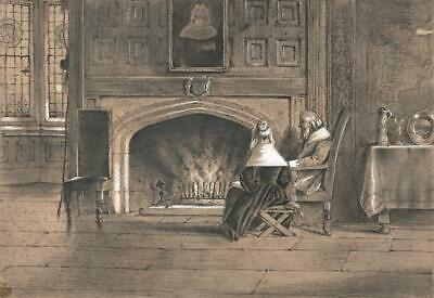 £99.99 • Buy GENTLEMAN & LADY NEXT TO FIREPLACE Victorian Pencil Drawing C1880