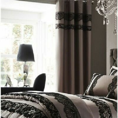 £11.99 • Buy Catherine Lansfield Flock Lace Eyelet Curtains Mocha With Black Laces CLEARANCE