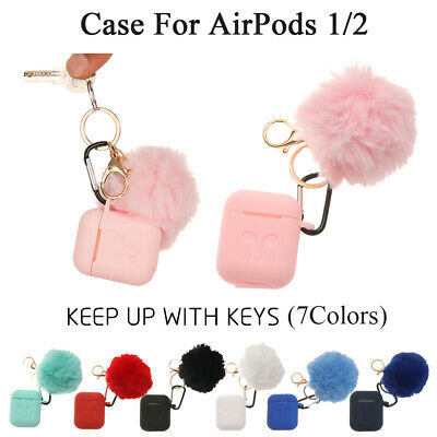 $ CDN5.40 • Buy New Silicone Earphone Protective Case Cover With Fur Ball Keychain For Airpods