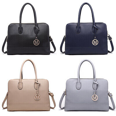Ladies Faux Leather Large Tote Handbag Women Briefcase Work Office Shoulder Bag • 13.99£