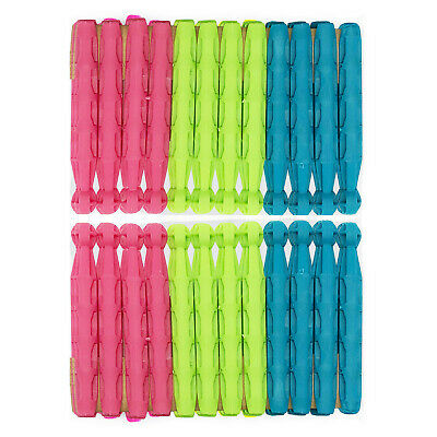 24pk Dolly Pegs | Extra Strong Plastic Hanging Cloth Pegs | Heavy Duty Clips • 2.99£