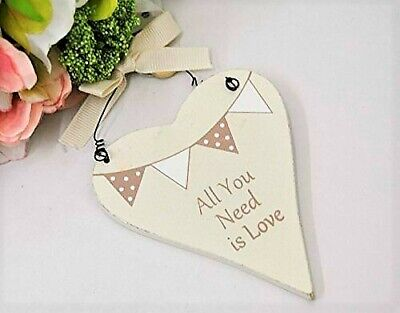 Love Heart Cream Wooden Hanging Love Heart -All You Need Is Love - Wedding Gift  • 4.25£