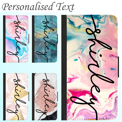 AU14.99 • Buy For IPhone 12 11 Pro Max Shockproof Leather Wallet Case Marble Personalised Name