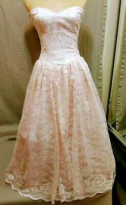 0105ae48758 Vintage Gunne Sax Pink Lace 80 s Strapless Prom Formal Dress • 42.00