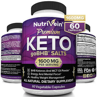 $18.99 • Buy Nutrivein Keto Diet Pills 1600mg - 60 Capsules - Weight Loss Supplement Fat Burn