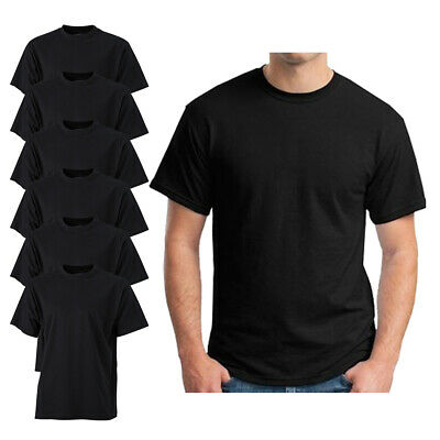 6 Pack Mens Black Crew Neck Short Sleeve  T-shirt 100% Cotton Blank Tee S-xxl • 14.99£