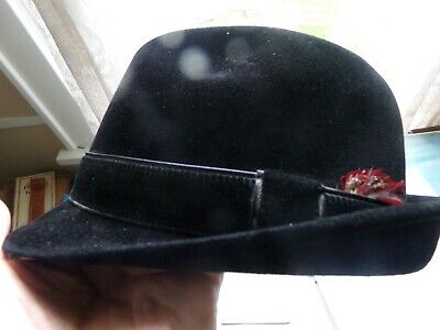 f6497f21c0aef Vintage STETSON PLAYBOY 3 X Beaver Fur Felt With Red Feather Size 7 1 8