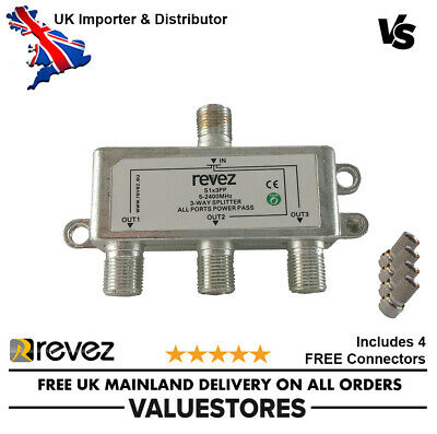 3 Way Powerpass F Type Cable Splitter 5-2400Mhz TV Aerial Sky Freeview Virgin • 3.79£