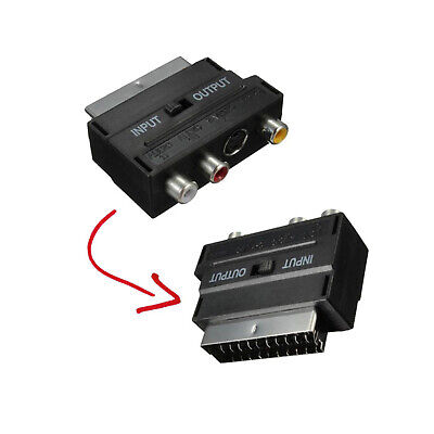 Scart To RCA Adaptor Female Phono AV Audio 3 RCA S Video Input Output Selector • 5.60£
