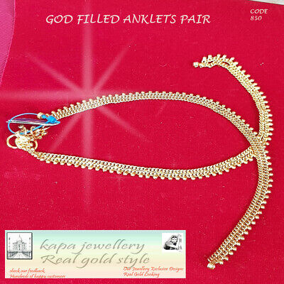 £9.95 • Buy New 22ct Gold Plated Leaf Arrival Indian Pakistani Pair Of Anklet Payal Chain Uk