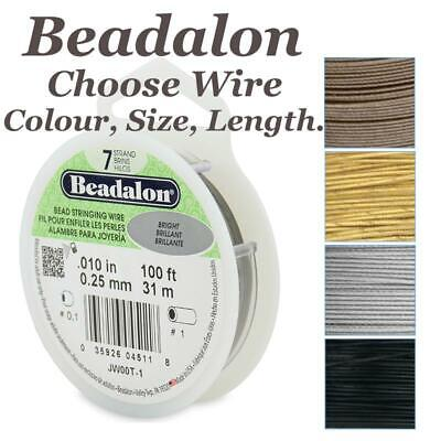 Beadalon Wire 7 Strand Stainless Steel Bead Stringing Choose Colour Size Length • 3.20£