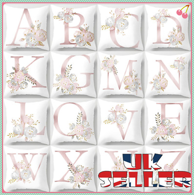 New UK LETTER POLYESTER CUSHION COVER PILLOW CASE WAIST THROW HOME SOFA DECOR • 2.99£