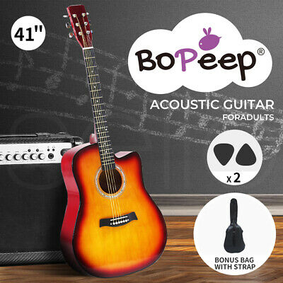 AU89.99 • Buy BoPeep 41 Inch Wooden Folk Acoustic Guitar Classical Cutaway Steel String W/ Bag