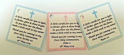 HOLY COMMUNION CANDLE FAVOURS GUEST LABELS ** TAGS  - Baptism / Christening  • 4.50£