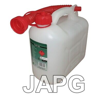 £9.99 • Buy 5 Litre Clear Fuel Petrol Can Jerry Mower, Chainsaw, Strimmer, Tiller, Generator