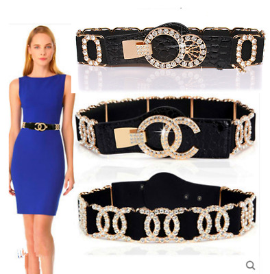 Vintage Women X Crystal Gold Buckle Elastic Stretch Floral Waistband Wide Belts • 3.99£