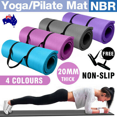 AU25.80 • Buy 20MM Thick Yoga Mat Pad Nonslip Exercise Fitness Pilate Gym With Carry Strap New