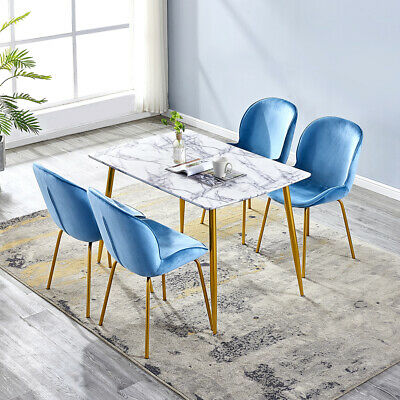 MDF Marble Glass Dining Table /Velvet Plastic Seat Wood Legs Dining Chairs Set • 251.99£