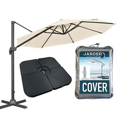 Jarder Cream Garden Parasol Base Cover Set Umbrella Cantilever Patio Canopy • 299.99£