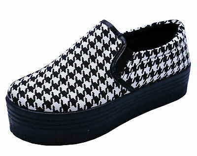 Ladies Black White Dogtooth  Platform Casual Wedge Pumps Trainers Shoes Uk 3-8 • 9.99£