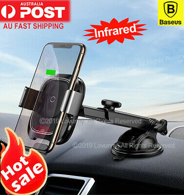 AU35.44 • Buy Baseus Qi Wireless Charger Car Mount Phone Holder IPhone 11 Pro X Samsung S10
