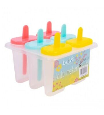 Plastic Ice Lolly Maker Re-usable 6 Pack Purple Yellow Blue NEW • 6.99£