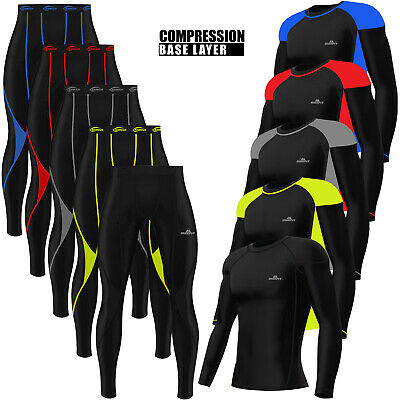Mens Compression Tights + Top T-Shirt Armour Base Layer Gym Trousers Under Suit • 9.99£