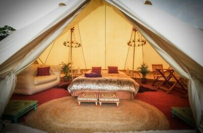 AU1273.15 • Buy 7M Canvas Bell Tent Waterpoof Camping Glamping Tent Family Yurt Tipi Stove Jack