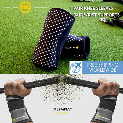 AU51.12 • Buy 🔥 Knee Sleeves 7mm Wrist Wraps Sbd Support Powerlifting Gym Fitness Full Set 🔥
