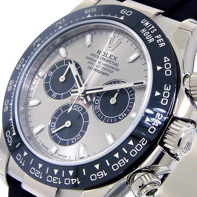 $ CDN49342.49 • Buy Rolex Daytona 116519ln White Gold Steel Grey Silver Dial Rubber Oysterflex Strap