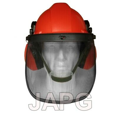 £23.99 • Buy Chainsaw Safety Helmet With Ear Defenders Muffs And Steel Mesh Face Visor