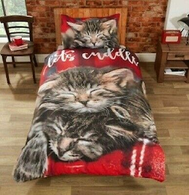 Rapport  CUDDLY CATS  Red Easy Care Duvet Cover Set S/D/K • 13.99£